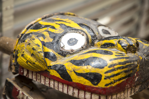059 tibetan ceremonial tiger mask  hand carved and painted wood with protective reflective mirror eyes  475 3