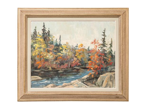 95 original oil painting by joyce kellcok  quebec 'landscape of stream' bio in envelope  595%28web%29